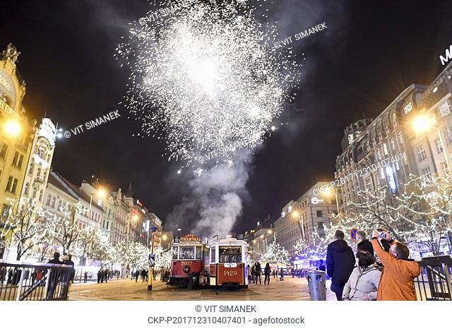 New Year's celebrations were held on the Wenceslas Square in Prague, Czech Republic, on December 31, 2017. (CTK Photo/Vit Simanek)