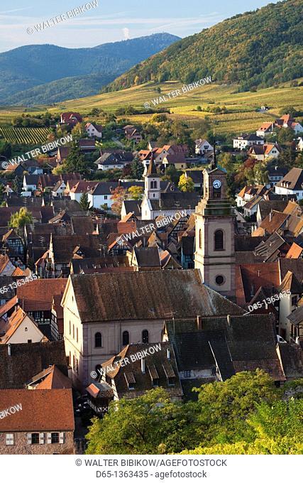 France, Haut-Rhin, Alsace Region, Alasatian Wine Route, Riquewihr, town view, dawn, autumn