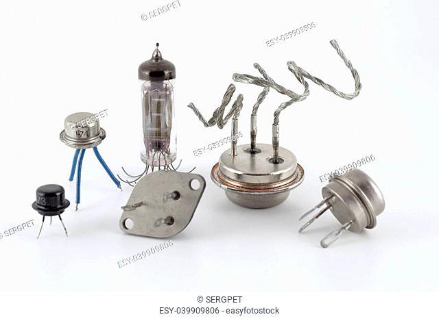 Old transistors over neutral background