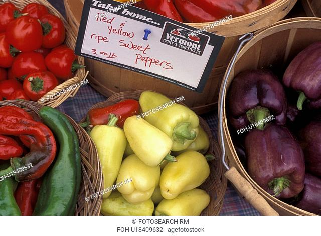 produce, vegetables, outdoor market, Vermont, VT, Peppers displayed in baskets for sale at the Saturday Farmers Market in Montpelier