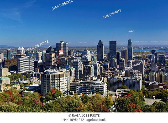 Autumn, Canada, North America, Mont Royal, Montreal, Quebec, architecture, city, colours, downtown, hill, landscape, skyline, touristic, travel