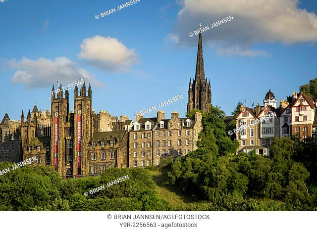 Church of Scotland and Tolbooth Church Towers rise above the buildings of old Edinburgh, Scotland