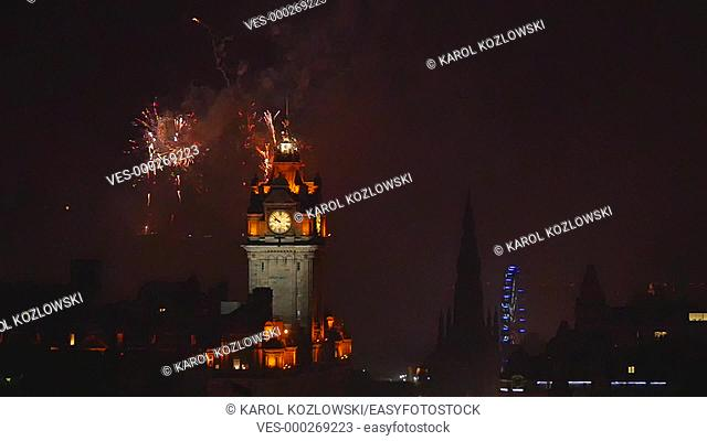 Slow motion Fireworks during the last day of Summer Festival in Edinburgh – view from Calton Hill, Scotland, United Kingdom
