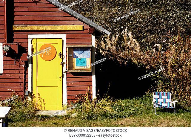 Colorful exterior of the Alaska Mountaineering School. Talkeetna. Alaska. United States
