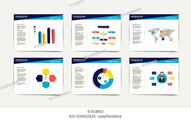 6 presentation business templates. Infographics for leaflet, poster, slide, magazine, book, brochure, website, print