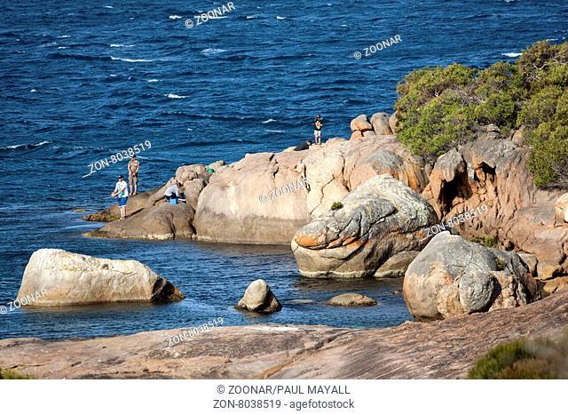 People fishing from coastal rocks, Esperance Western Australia