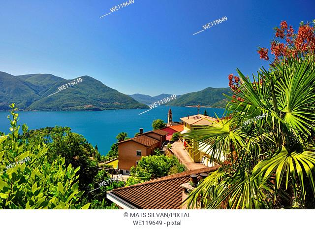 Panoramic view over an alpine lake with houses and mountain