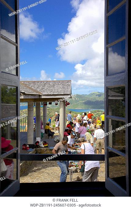 West Indies, Caribbean, Antigua, View from Shirley Heights & Tourists