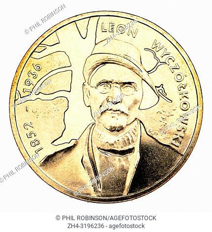 Leon Wyczólkowski (1852-1936) leading painter of the Young Poland movement, on aPolish 2Zl commemorative coin. 'Nordic Gold' (alloy of copper, aluminium, zinc