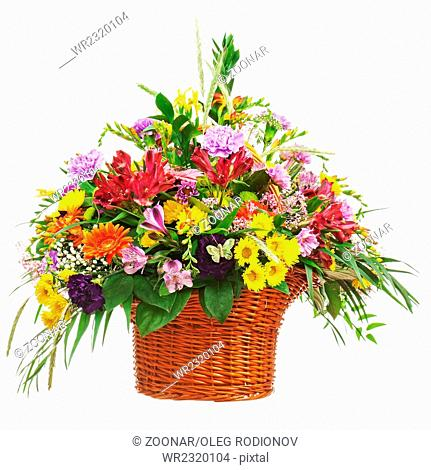 Flower bouquet arrangement centerpiece in wicker b