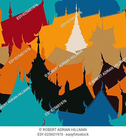 Colorful editable vector seamless tile of Buddhist temple buildings