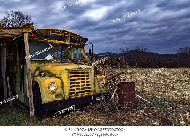 Abandoned School Bus near Brevard, North Carolina, USA