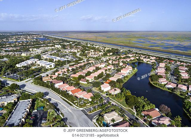 Florida, Weston, aerial view, homes residences bordering Everglades Wildlife Management Area Water Conservation Area 2B, Everglades Parkway Alligator Alley