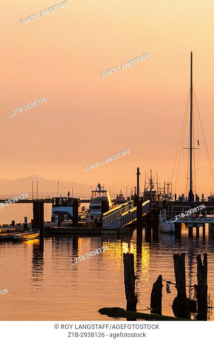 Forest fire smoke adding colour to the setting sun ovet Steveston in British Columbia