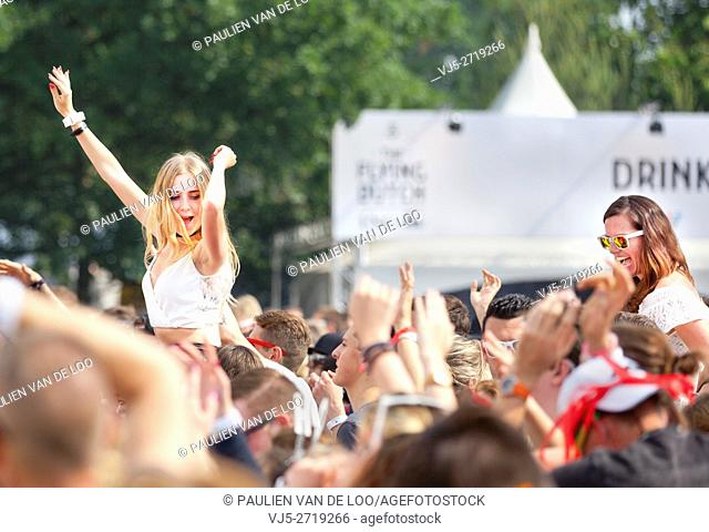 Eersel, Eindhoven, Netherlands, girls having fun and cheering at an event