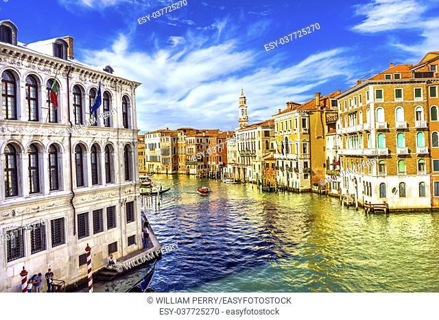 Colorful Grand Canal From Rialto Bridge Touirists Grand Canal Venice Italy