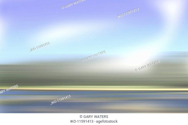 Abstract blurred motion road and grass verge