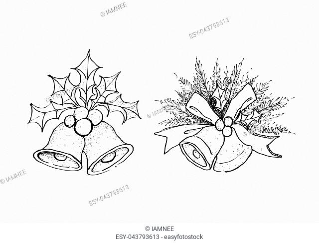 Illustration Hand Drawn Sketch of Two Christmas Bells and Christmas Holly with Pine Leaves Hanging on Lovely Red Bows, Sign for Christmas Celebration Isolated...