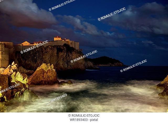 Night view of coastline of Dubrovnik, Dalmatia, Croatia