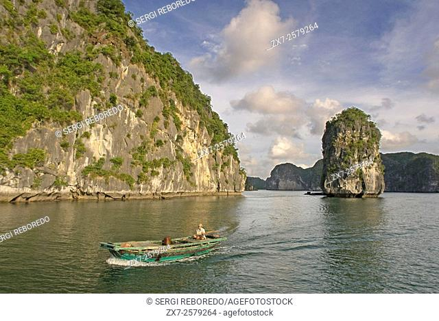 Boat and limestone karst in Ha long,Halong Bay, Vietnam,Ha long,Halong Bay, Vietnam