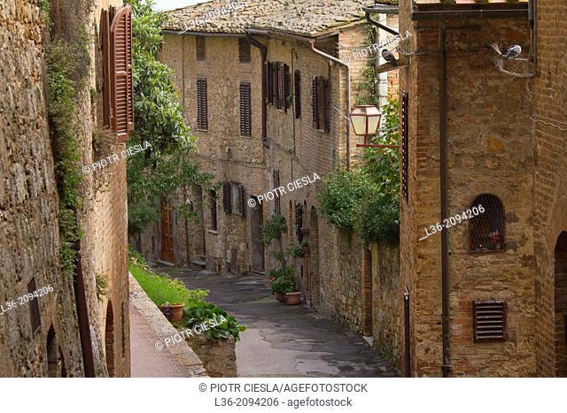 A scene in San Gimignano, Tuscany, Italy