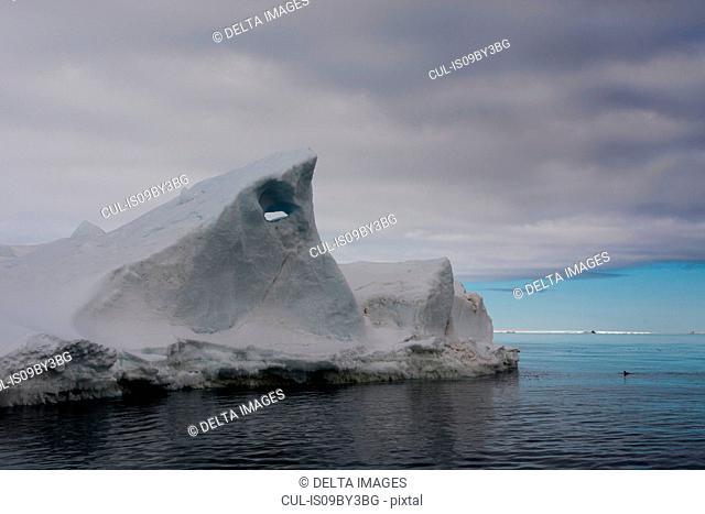 Seascape with iceberg, Vibebukta, Austfonna, Nordaustlandet, Svalbard, Norway