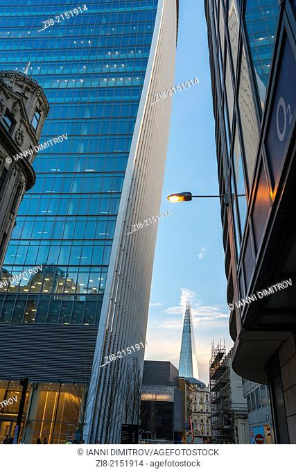 The Shard from Philpot lane with 20 Fernchurch building to the left,City of London,England