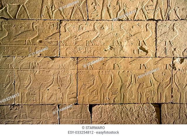 set of ancient Egyptian hieroglyphs