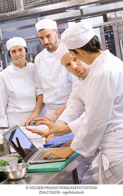 Chefs using computer in restaurant kitchen