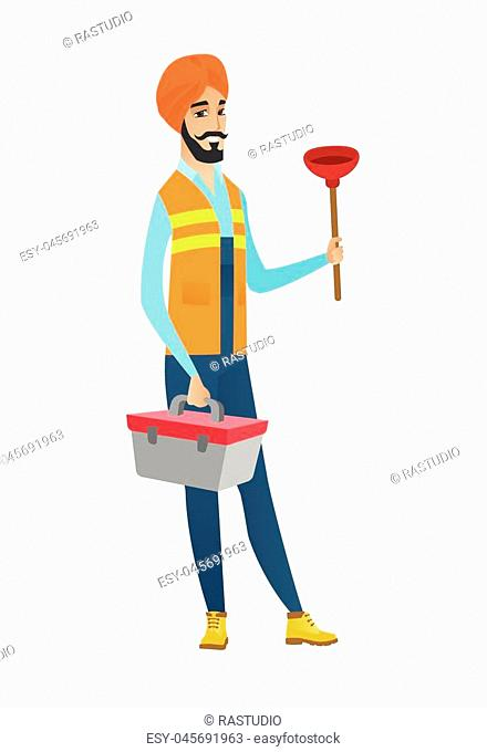Hindu plumber with toilet plunger and tool box. Full length of young smiling plumber in headscarf holding plunger and tool box