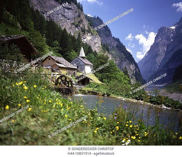 Switzerland, Europe, St.Martin, Calfeisental, Calfeisen valley, canton St. Gallen, Walser colony, Village, Mountain vi