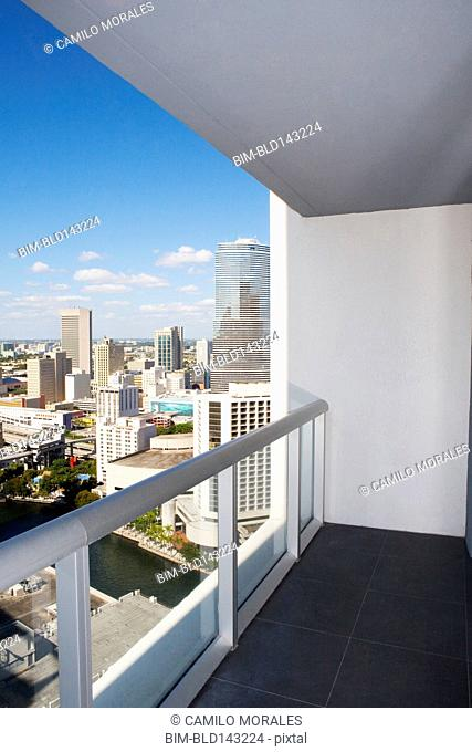 Balcony overlooking high rises in urban cityscape, Miami, Florida, United States