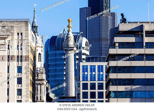 England, London, The City, The Monument and City Office Buildings