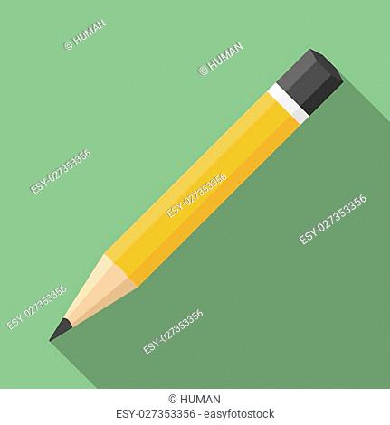 Pencil, flat design with long shadow, vector eps10 illustration