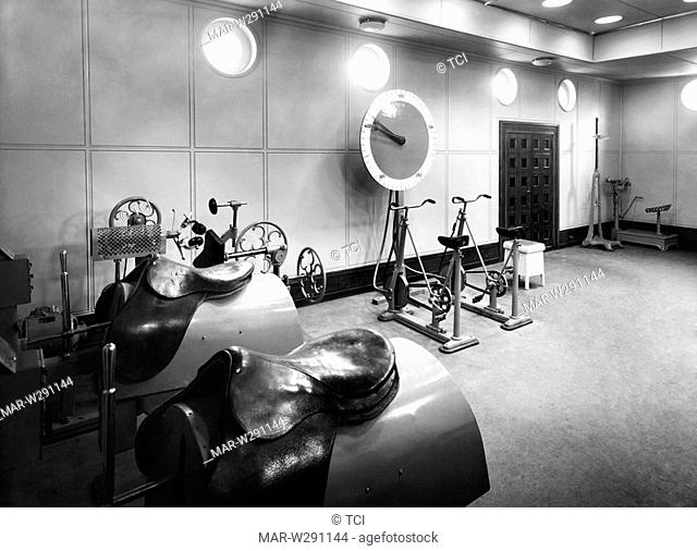 gym of the first class on the liner vulcania, 1930