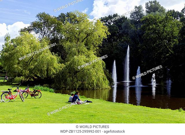 Sunny summer's day in Vondelpark, with fountains and pond, Amsterdam, Netherlands, Europe