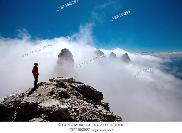 Panoramic view from the top of Sfornioi nord peak in the Belluno Dolomites, Unesco world natural heritage site, Italy, Europe