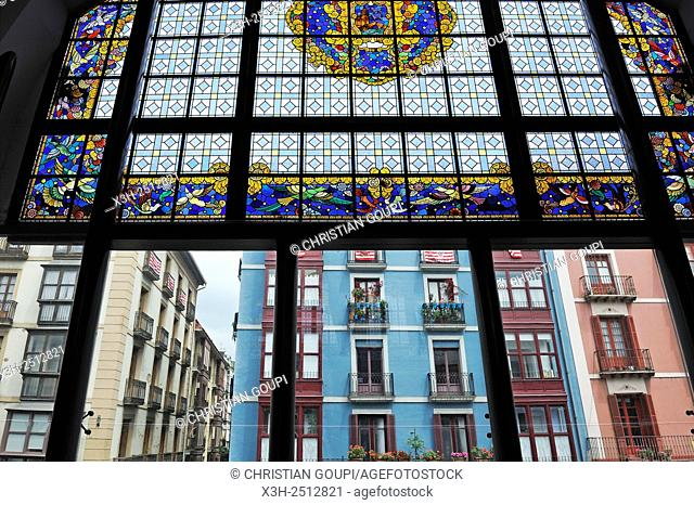 stained glass window of market hall of La Ribera, Erribera street, Casco Viejo, Bilbao, province of Biscay, Basque Country, Spain, Europe