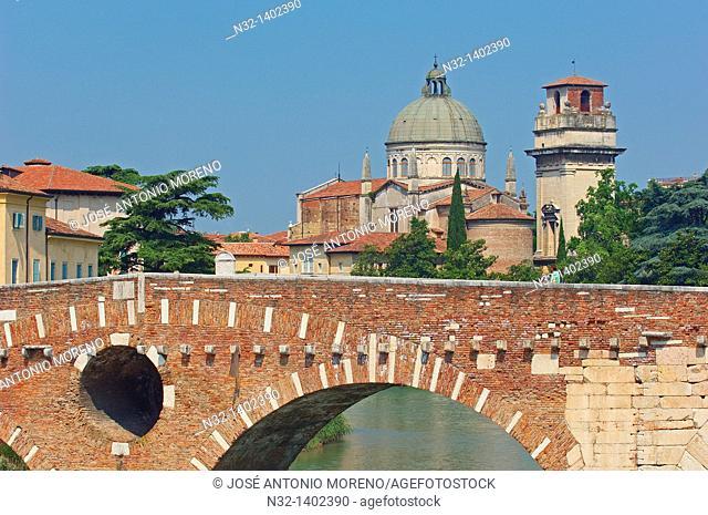 Verona  The Stone bridge  Ponte di petra  Sant Giorgio in Braida church  Veneto  Italy  Europe