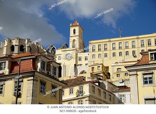 Buildings and  Igreja do Carmo from the Praça do Rossio (also called Praça Dom Pedro IV). The church of Carmo  is a Carmelite church located at the Baixa...