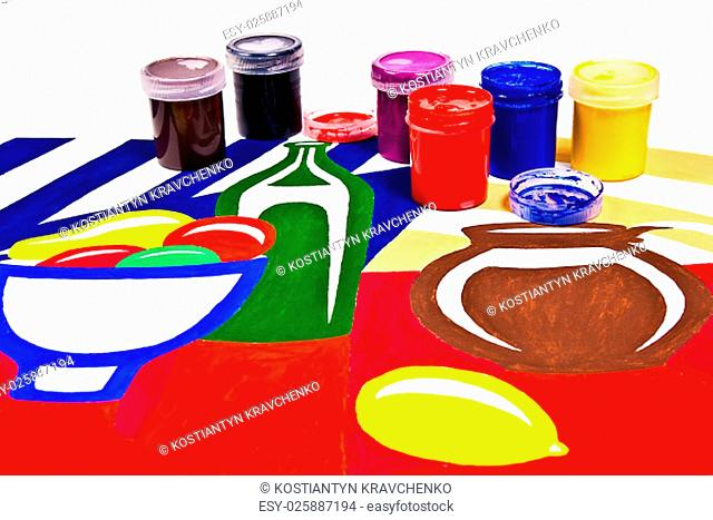Bottles with gouache paints for artistic paintings.Original artistic painting of still life on the background