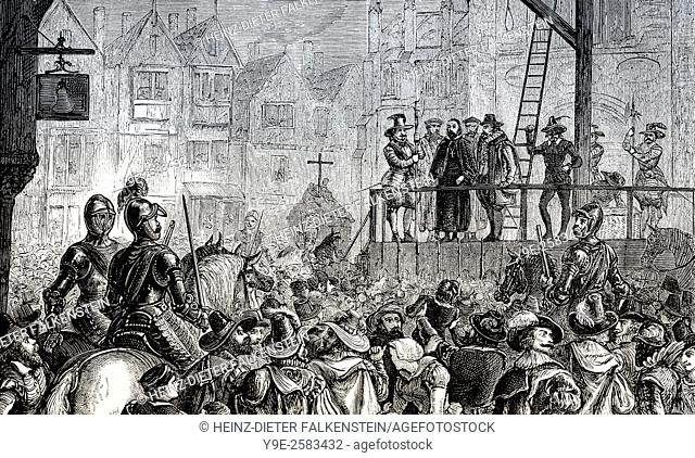 Execution of Henry Garnet or Garnett, 1555-1606, an English Jesuit priest, executed near St Paulâ. . s Cathedral, London