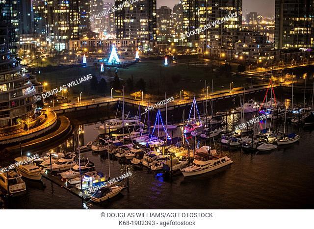 marina at night on the north shore of False Creek, Vancouver, BC, Canada