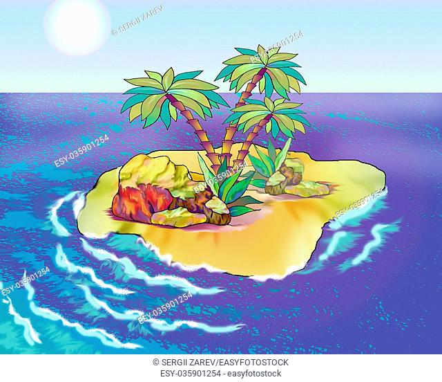 Desert Island in a Summer day. Digital Painting Background, Illustration in cartoon style character