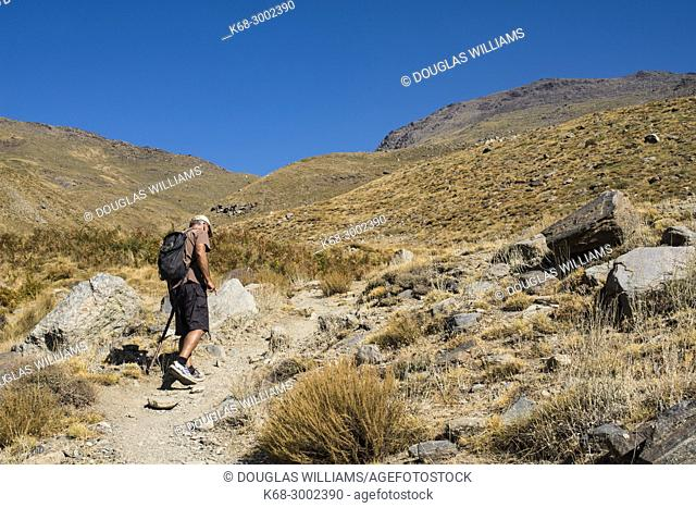A man hikes on a trail in the mountains above Capileira, Alpujarras, Andalucia, Spain