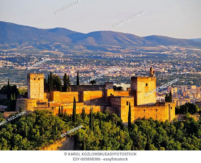 Cityscape of Granada with a view of famous Alhambra - a palace and fortress complex, Andalusia, Spain