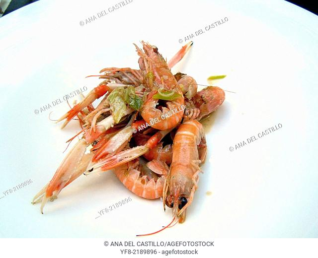 Some fresh and cooked crayfish tapas, ready to eat. Spain