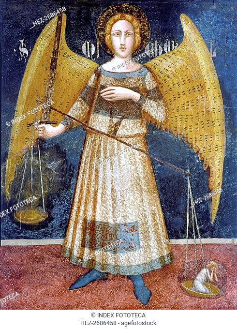 Angel holding a balance', detail of the paintings by Ferrer Bassa, frescoes preserved in the chap?