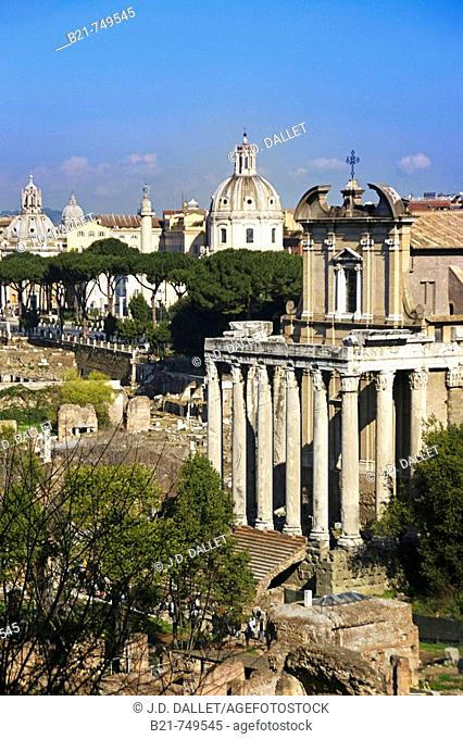 Italy. Rome. View of the Forum from the Palatine hill