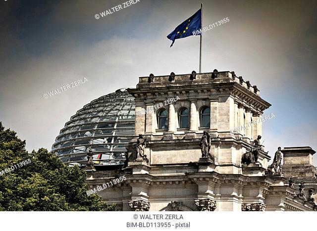 European Union flag on ornate building, Berlin, Germany